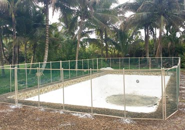 Green/Beige Pool Fence